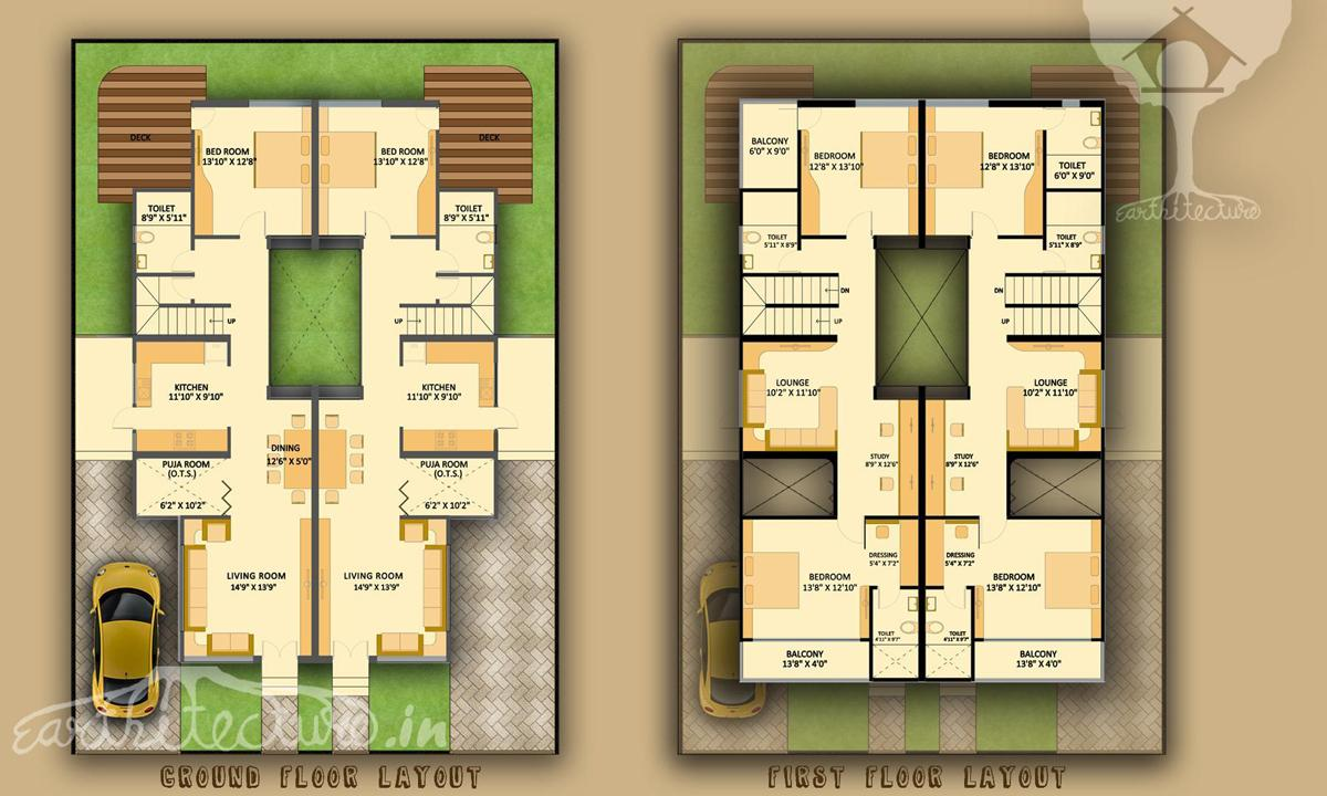 Planning residence twin house earthitecture for Firm house design
